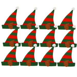 12 x Elf Striped Christmas Felt Hats With Bobble - Childs or Small Adults Size - Wholesale Bulk Buy
